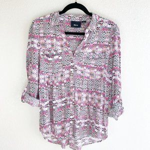 Anthro Maeve S Pink Print Button Up Tunic Top